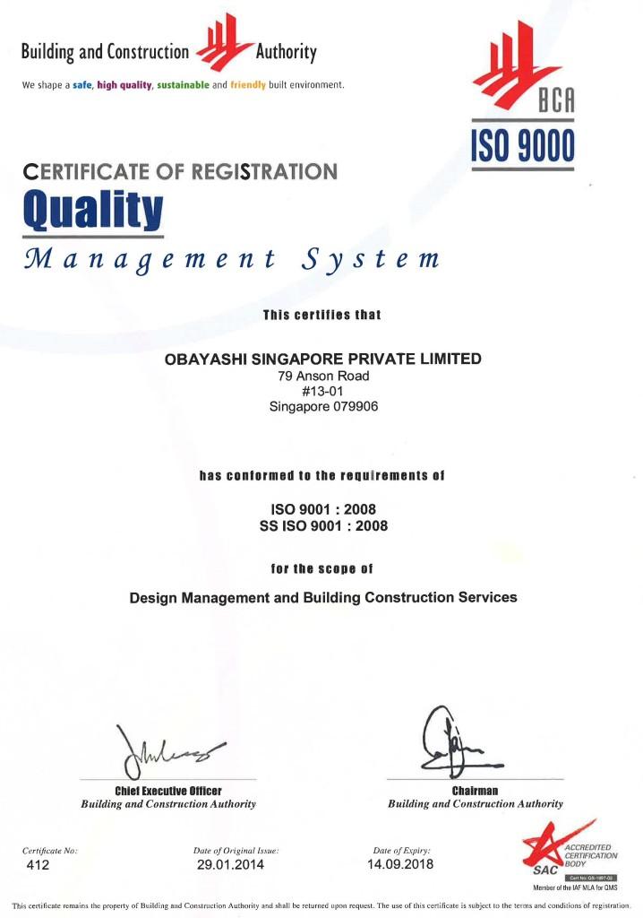 BCA ISO 9001 – Obayashi Singapore